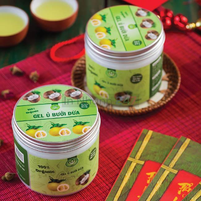 Bộ tem decal giấy Gel ủ bưởi dừa chai lọ