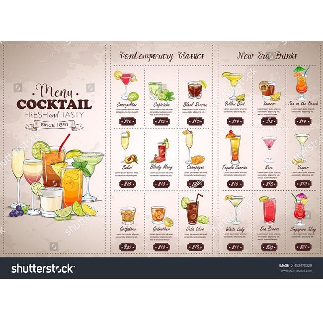 Mẫu menu đồ uống SS 453470329