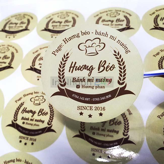 Sticker decal giấy tròn Hương Béo
