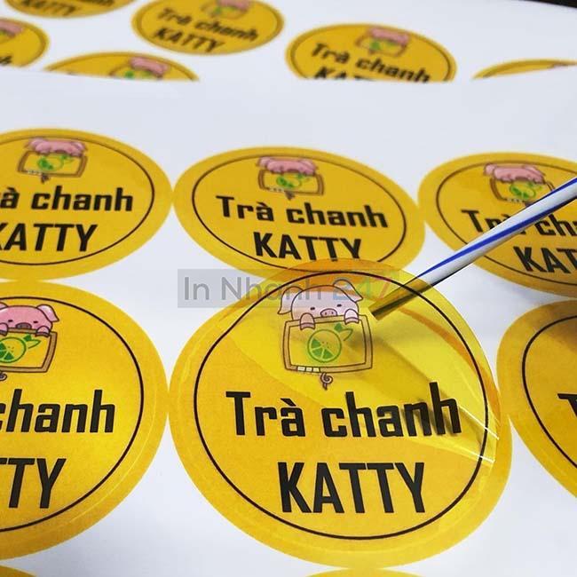 Sticker decal trong trà chanh Katty