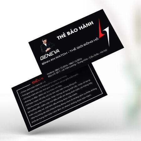 Thẻ bảo hành dạng card visit