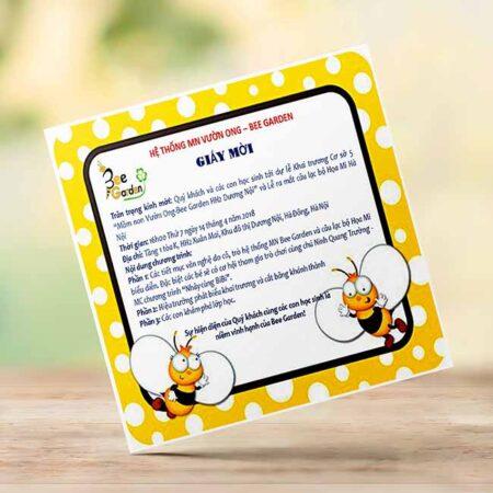 Thiệp mời khai trương trường mầm non Bee