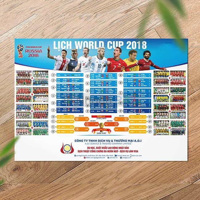 Tờ rơi lịch bóng đá World Cup