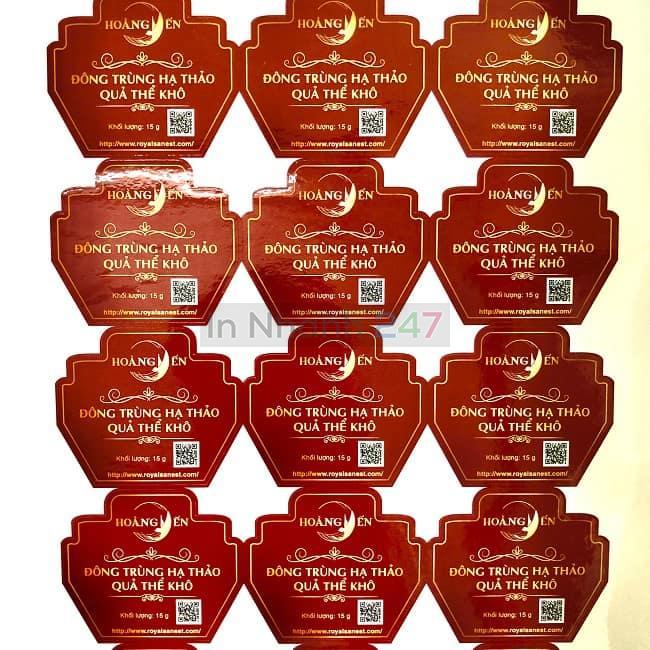 Bộ tem decal giấy Hoàng Yến ép nhũ cao cấp